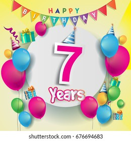 7th years Anniversary Celebration, birthday card or greeting card design with gift box and balloons, Colorful vector elements for the celebration party of seven years anniversary.