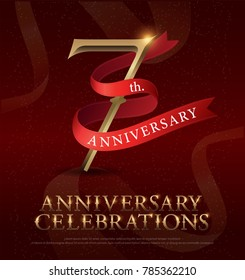 7th years anniversary celebration golden logo with red ribbon on red background. vector illustrator