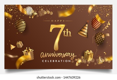 7th years anniversary design for greeting cards and invitation, with balloon, confetti and gift box, elegant design with gold and dark color, design template for birthday celebration.