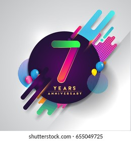 7th years Anniversary logo with colorful abstract background, vector design template elements for invitation card and poster seven years birthday celebration