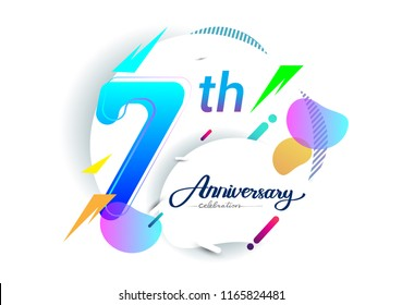 7th years anniversary logo, vector design birthday celebration with colorful geometric background, isolated on white background.