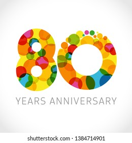 8 0 th anniversary numbers. 8 years old multicolored logotype. Congrats 80th greetings, congratulation idea. Isolated abstract graphic design template. Coloured digits, up to -80% percent off discount