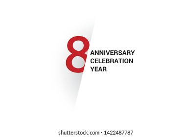 8 anniversary, minimalist logo. 8th jubilee, greeting card. Birthday invitation. 8 year sign. Red space vector illustration on white background - Vector