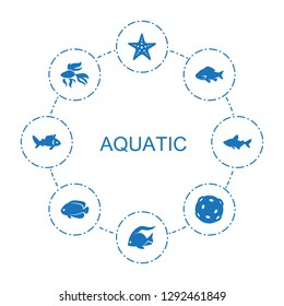 8 aquatic icons. Trendy aquatic icons white background. Included filled icons such as starfish, fish, extinct sea creature. aquatic icon for web and mobile.