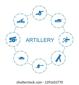 8 artillery icons. Trendy artillery icons white background. Included filled icons such as cannon, tank, catapult. artillery icon for web and mobile.
