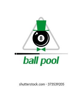 8 ball pool. Billiards. Emblem. Vector illustration.