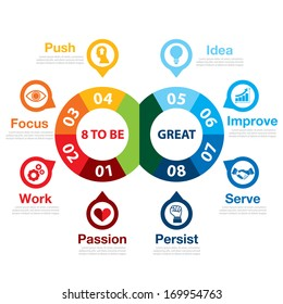 8 to be great infographic. Success way concept. Can be used for layout, web design, brochure, flyer, leaflet,  template, infographics Vector illustration