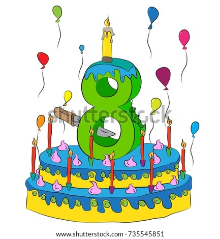 8 Birthday Cake With Number Eight Candle Celebrating Eighth Year Of Life Colorful Balloons