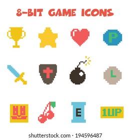 8 bit item icons, flat vector symbols