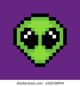 8 bit pixel alien. vector illustration
