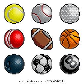 An 8 bit pixel art style video arcade game cartoon sports balls icon set