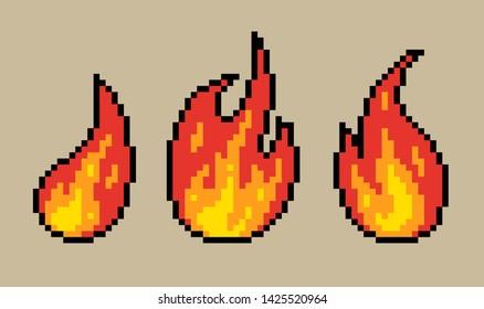 8 bit pixel fire flame vector