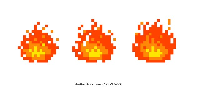 8 bit pixel fire flame vector. illustration. white background. isolated object