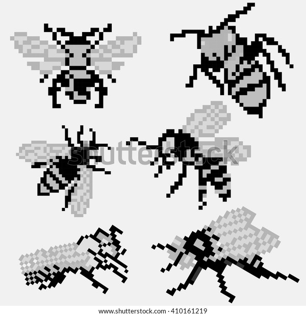 8 Bit Pixel Grayscale Bee Set Stock Vector (Royalty Free