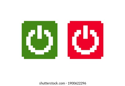 8 bit pixel power button. launching. red and green button. white background. isolated object. vector illustration