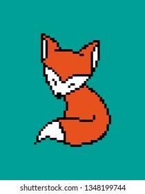 8 bit pixel red fox. vector illustration