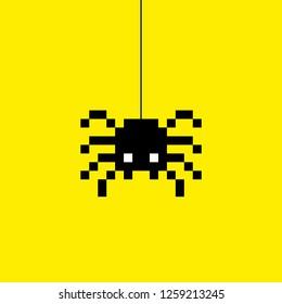 8 bit pixel spider vector