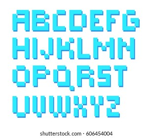 8 bit pixelated square alphabet letters. Turquoise.