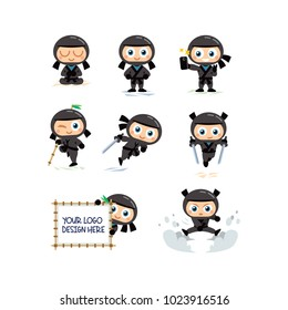 8 black ninja mascot, simple to edit, well layered (all ninja have his own layer) isolated objects, 100% vector
