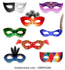 8 bright carnival masks  over white background