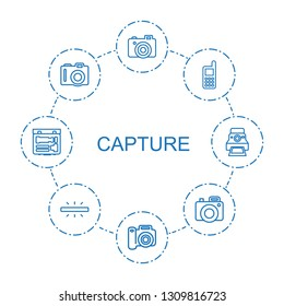 8 capture icons. Trendy capture icons white background. Included outline icons such as camera, phone, camera printing photo. capture icon for web and mobile.