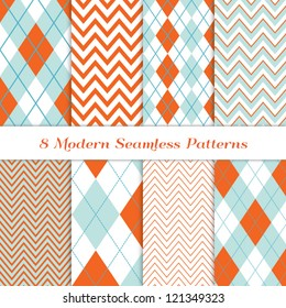 8 Chevron and Argyle Patterns in Aqua Blue, Turquoise, White & Coral Orange. For Scrapbook or Photo Collage. Modern Christmas Backgrounds. Matches my other pattern pack Image ID: 128027705