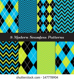 8 Chevron and Argyle Patterns in Blue, Lime Green and Black with White Accent Lines. Perfect for Kids Monster Party or Halloween Backgrounds. Pattern Swatches made with Global Colors.