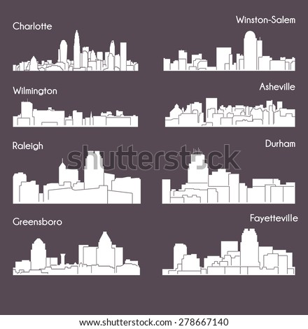 8 City North Carolina Charlotte Raleigh Stock Vector Royalty Free