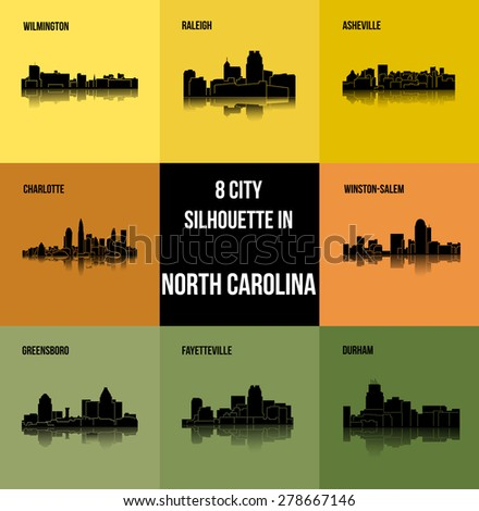 8 City North Carolina Charlotte Raleigh Stock Vektorgrafik