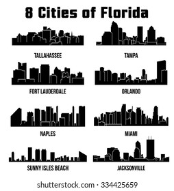 8 City silhouette in Florida ( Naples, MIami, Fort Lauderdale, Tampa, Orlando, Tallahassee, Sunny Isles Beach, Jacksonville )