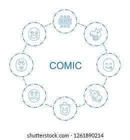 8 comic icons. Trendy comic icons white background. Included line icons such as Jackpot, emot in love, hippopotamus, crazy emot, emot with mustache. comic icon for web and mobile.