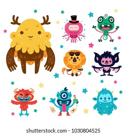 8 cute and sweet monster for any kind of purpose, well layered and 100% vector