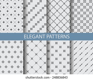 8 different classic black and white seamless patterns. Endless texture can be used for wallpaper, pattern fills, web page background,surface textures.