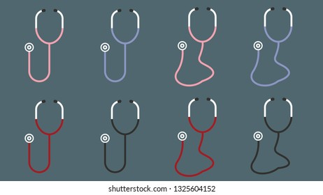 8 Different Modern Stethoscope Illustrations Vectors for Design or Animation - Doctor Medical Health Stethoscope Hospital Dr. - Retro Vintage Stethoscopes Minimal