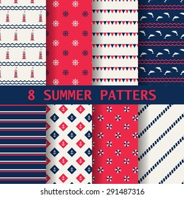 8 different summer patterns, Swatches, vector, Endless texture can be used for wallpaper, pattern fills, web page,background,surface