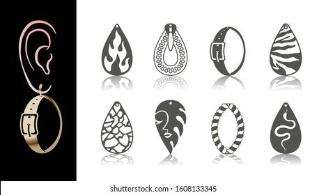 8 Earring Designs. Cutout drops with animal skin, snake, abstract face, fire, rope, belt, zipper