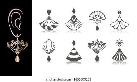 8 Earring Designs. Cutout jewellery with fan, flower, seashell, rope, bell. Template is suitable for creating fashion & charm women jewellery: earrings, necklace or bracelet.