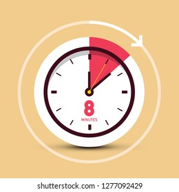 8 Eight Minutes Time Symbol - Vector