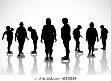 8 figures of thick women are on the scales