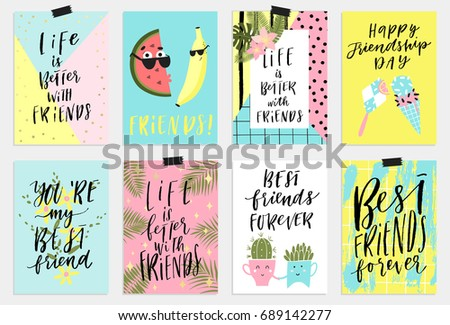 8 fun happy friendship day holiday stock vector royalty free 8 fun happy friendship day holiday cards or poster design with wishing and greetings in vector m4hsunfo
