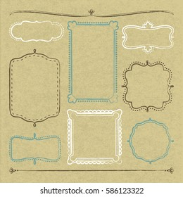 8 hand drawn frames on cardboard with vector illustration