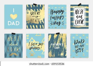 8 Happy Father's Day postcards in blue white black and gold colors. Label, tags, card, posters, sale advertising, flyer. Vector illustration.