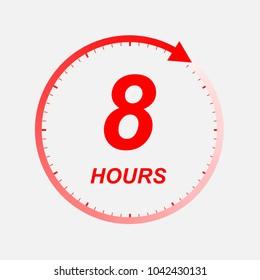 8 hour vector icon