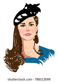 8 january, 2018: hand drawn sketch of Duchess of Cambridge Kate Middleton