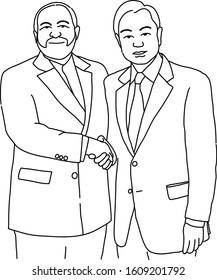 8 January 2020 / Thailand / Bangkok Hand drawn vector Mr. Wang Yi  Minister of Foreign Affairs , China shake hand with Iranian foreign Minister Mohammad Jafar Sharif