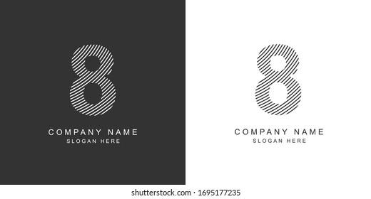 8 logo. 8 number icon. Vector illustration.