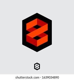 8 logo. Number 8 monogram consist of folded lines. Infinity origami  logotype. Monochrome option.