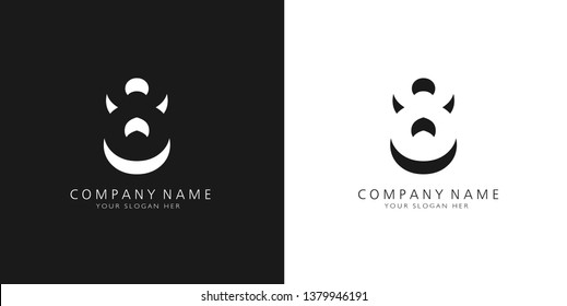 8 logo numbers modern black and white design