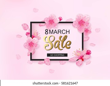 8 march background with flowers. Season discount banner design with cherry blossoms and petals.