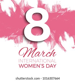 8 march banner design layout with brush strokes and paint splashes and text for greeting cards, posters, invitations, brochures to International Women's Day